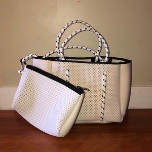 White Neoprene Satchel with Makeup Pouch